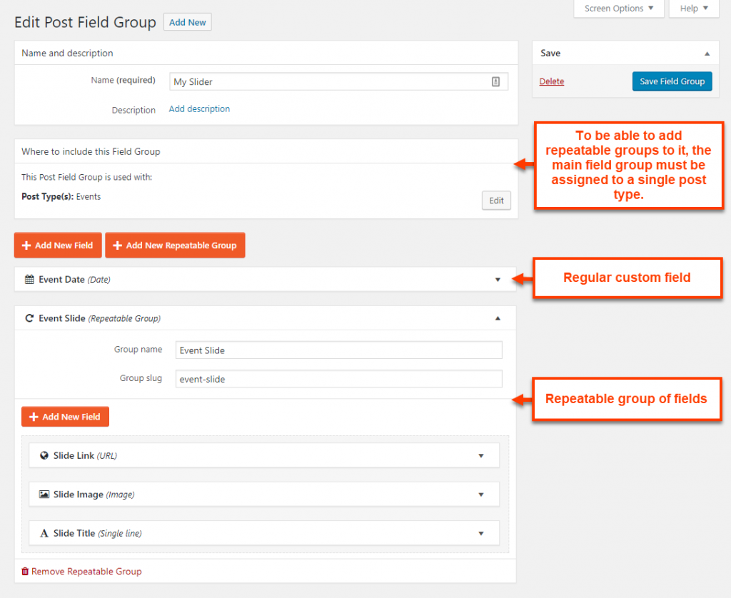 Repeatable group added to a regular group of custom fields