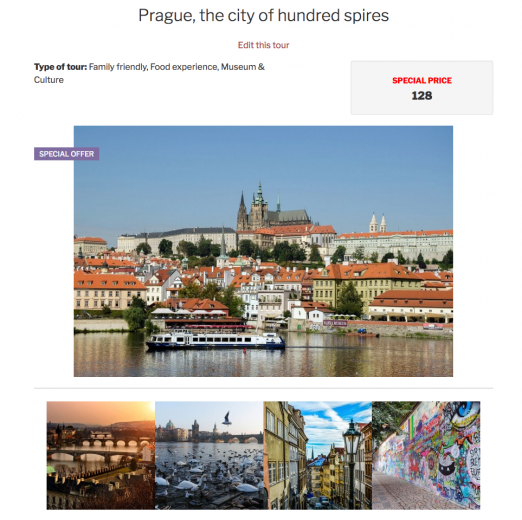 Single-post page that displays a tour with a gallery of images