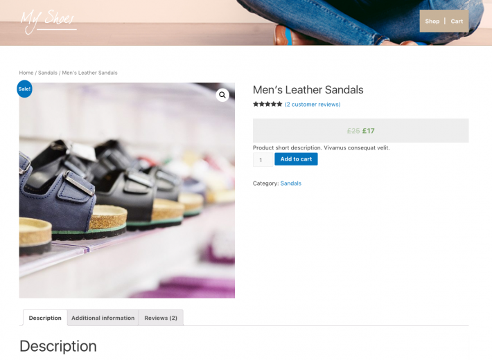 Before – Single product page displayed by default